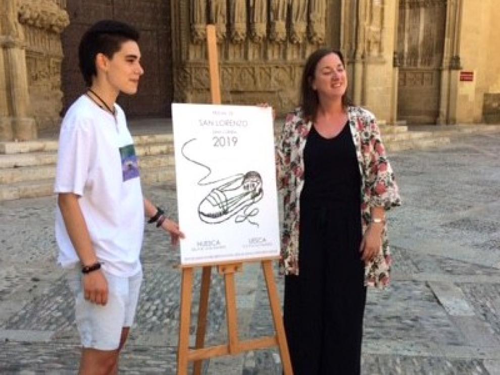 """Huellas de San Lorenzo"""", una alpargata es el símbolo festivo para el cartel anunciador"""