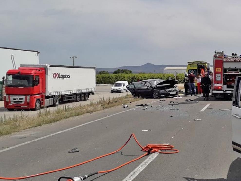 Cinco personas resultan heridas en un accidente de circulación a la salida de Fraga