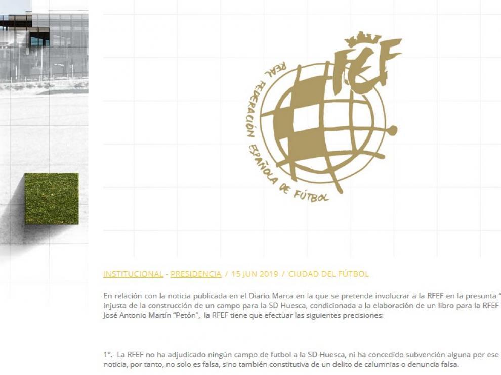 Contundente respuesta de la RFEF a la noticia de la supuesta adjudicación de un campo de fútbol al Huesca
