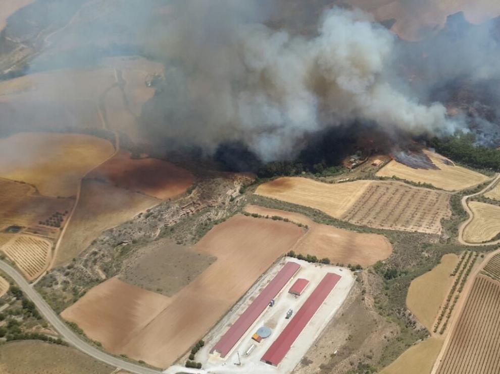 Arden unas 250 hectáreas en un fuego en Villanueva de Huerva