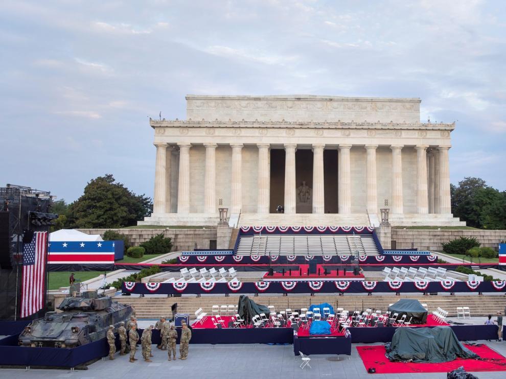 Entre tanques, Washington se prepara para la gran fiesta patriótica de Trump