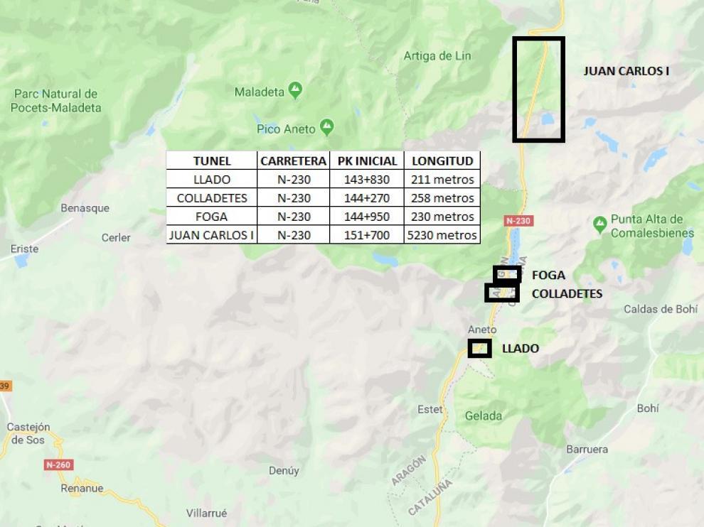 Fomento licita el contrato de obras de varios túneles en Huesca y Lérida