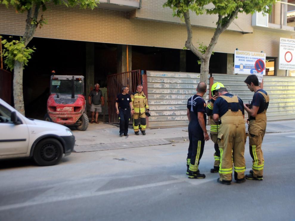 Susto por un fuego en una vivienda en construcción en Huesca