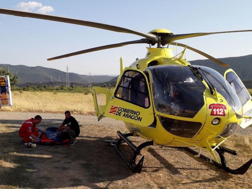 La Guardia Civil de Teruel auxilia a un hombre, herido en un accidente de motocicleta