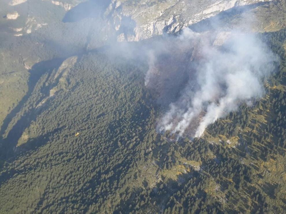 El Gobierno de Aragón da por controlado el incendio de Tella-Sin