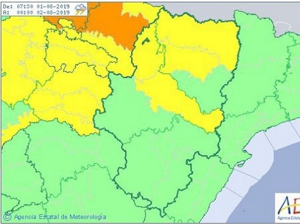 Aviso amarillo por tormentas en el Pirineo y en el centro de la provincia de Huesca