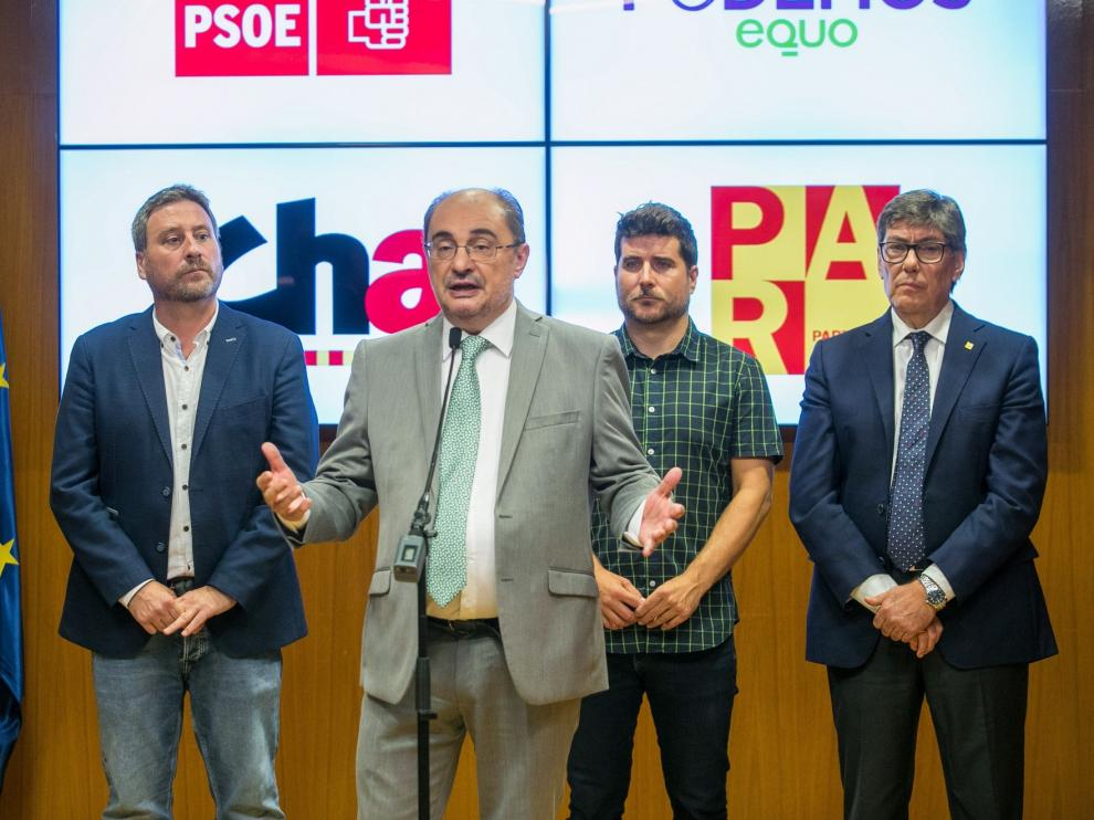 El cuatripartito de Aragón sella su pacto y fía el éxito a la confianza