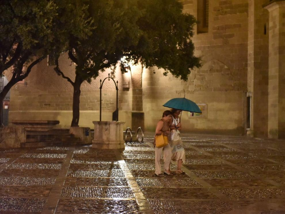 Tromba de ocho litros este domingo por la noche en Huesca