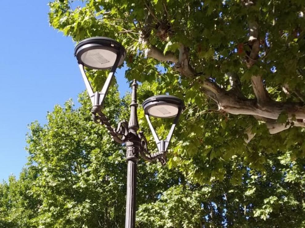 El Parque Miguel Servet de Huesca estrena alumbrado LED
