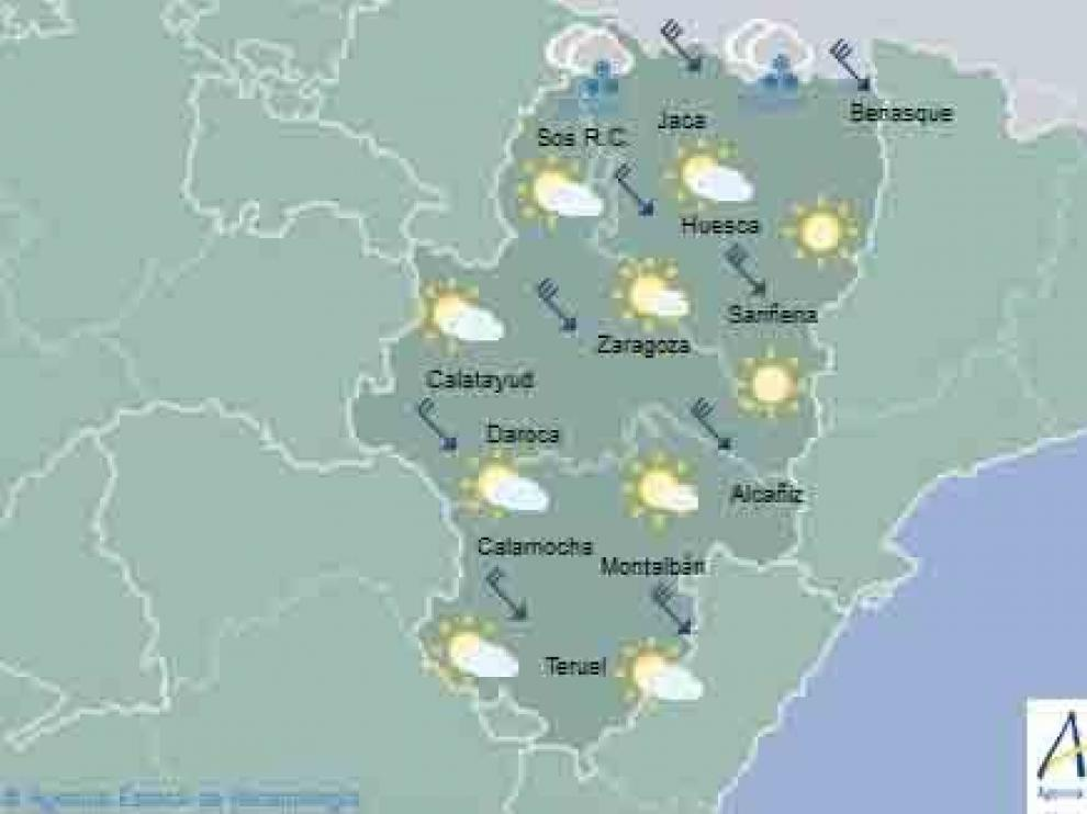 Este lunes se espera alerta amarilla por nieve en el Pirineo y por viento en las tres provincias