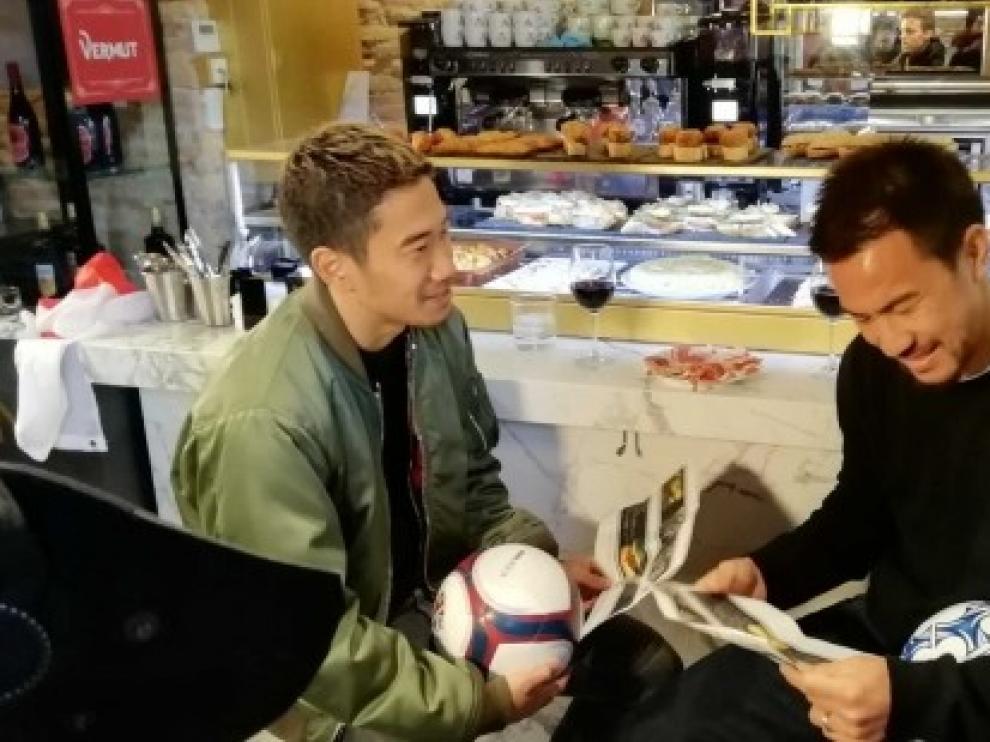 Aragón se promociona en Japón con Okazaki y Kagawa