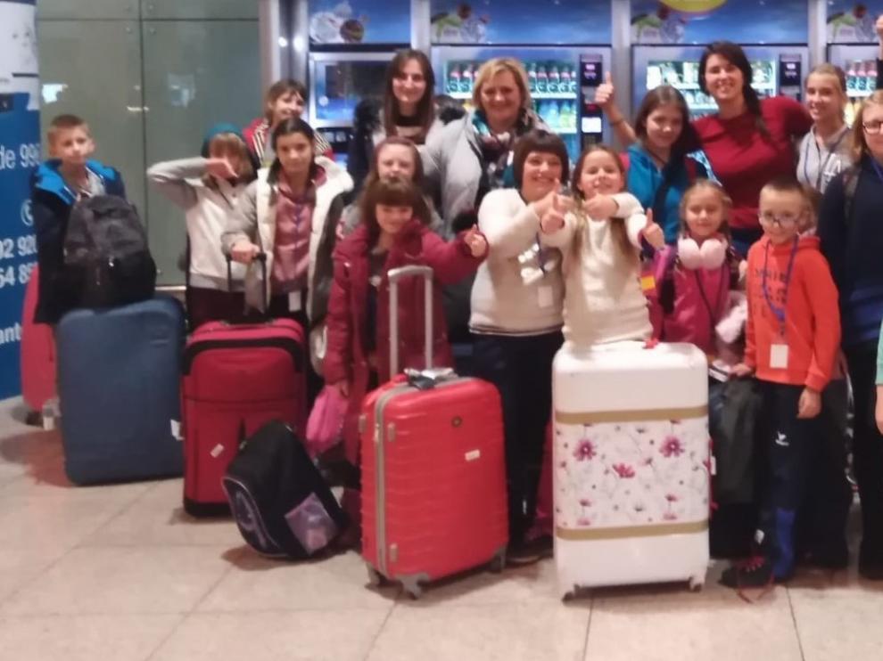 Unos cuarenta niños ucranianos pasan las navidades en Aragón