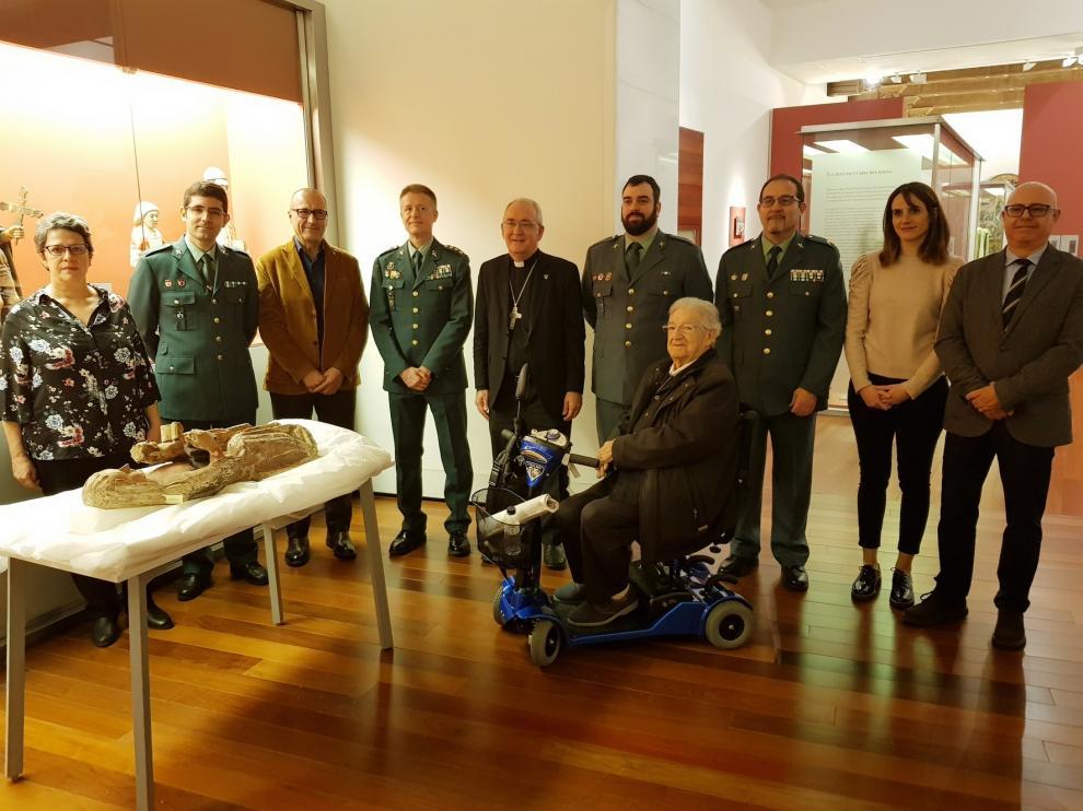 El Museo Diocesano de Barbastro-Monzón recupera una talla de Santa Ana gracias a la Guardia Civil