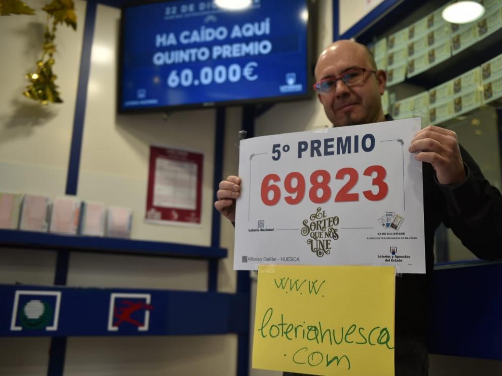 Los quintos premios dejan 60.000 euros en Huesca, 24.000 en Aínsa, 12.000 en Benasque y 6.000 en Jaca