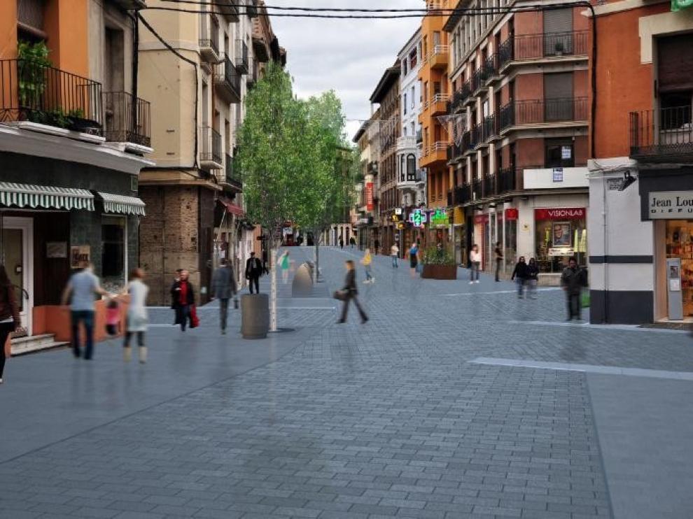 Los afectados por las obras del Coso Bajo de Huesca asumen las molestias de una obra que se ha hecho de rogar