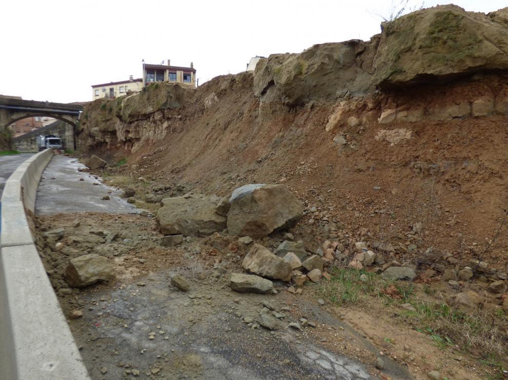 Las lluvias provocan desprendimientos en Barbastro