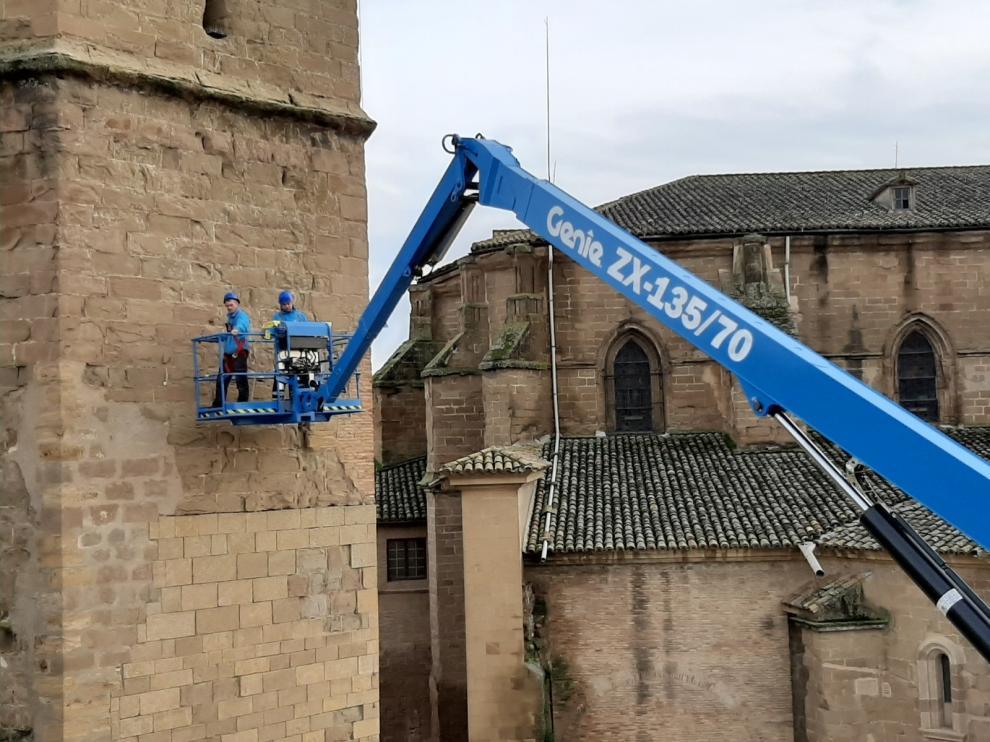 La torre de la Catedral de Barbastro lucirá su mejor cara con motivo de los diez años de la apertura del Museo Diocesano