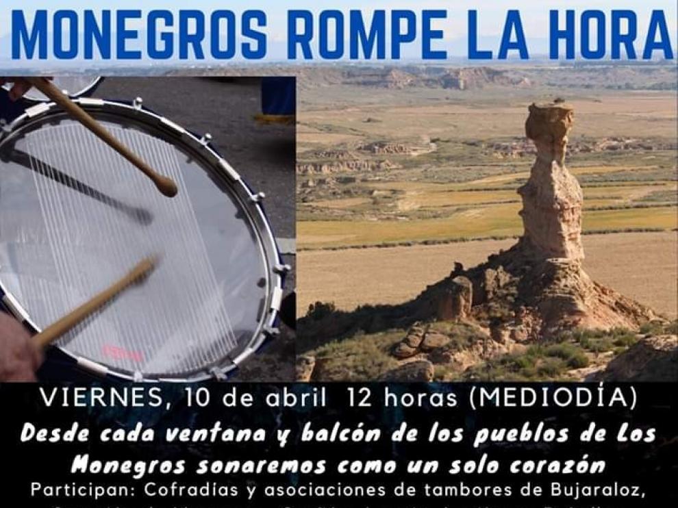 Los grupos de tambores de Monegros quieren sonar como un solo corazón este mediodía