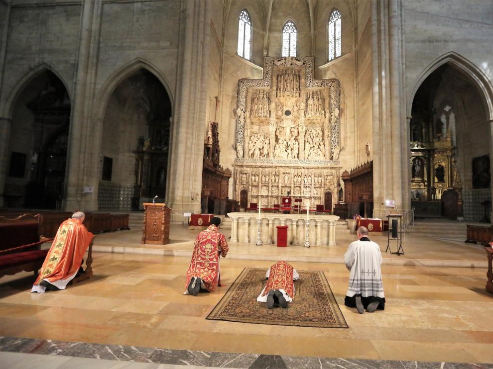 Los actos religiosos de Huesca se han celebrado sin la asistencia de fieles debido al coronavirus