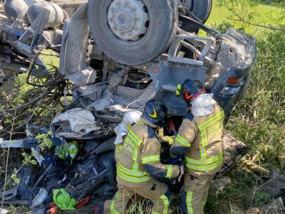 Accidente mortal de un camionero navarro en Escó, en la Jacetania