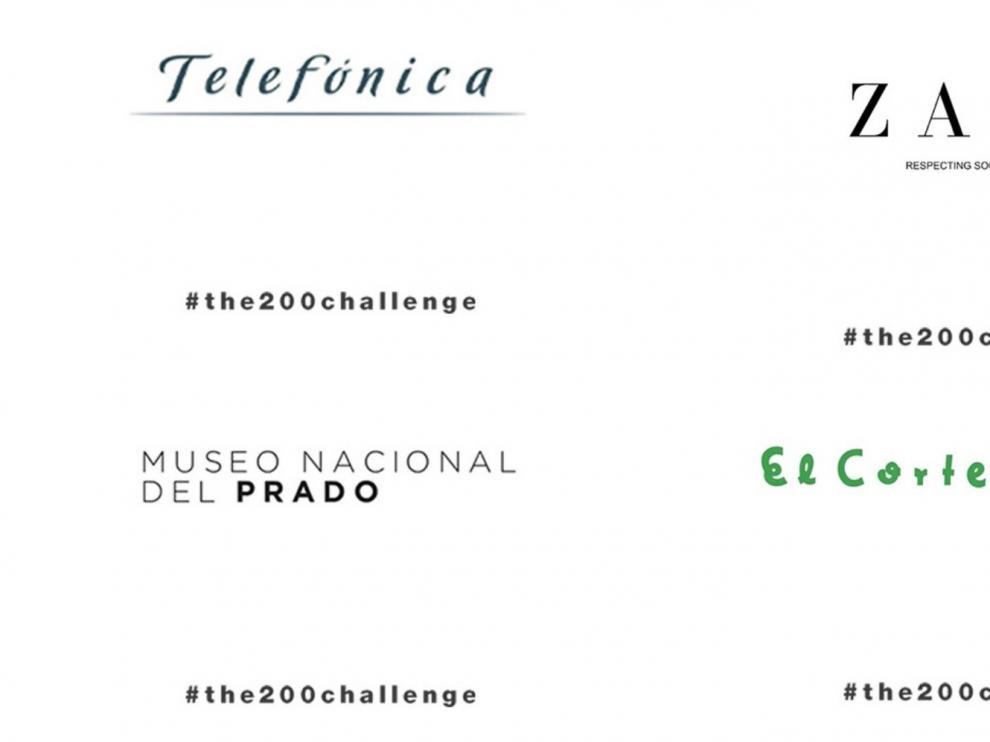 Zara, Telefónica, Iberdrola o El Corte Inglés se unen a #The200Challenge y cambian temporalmente su logo