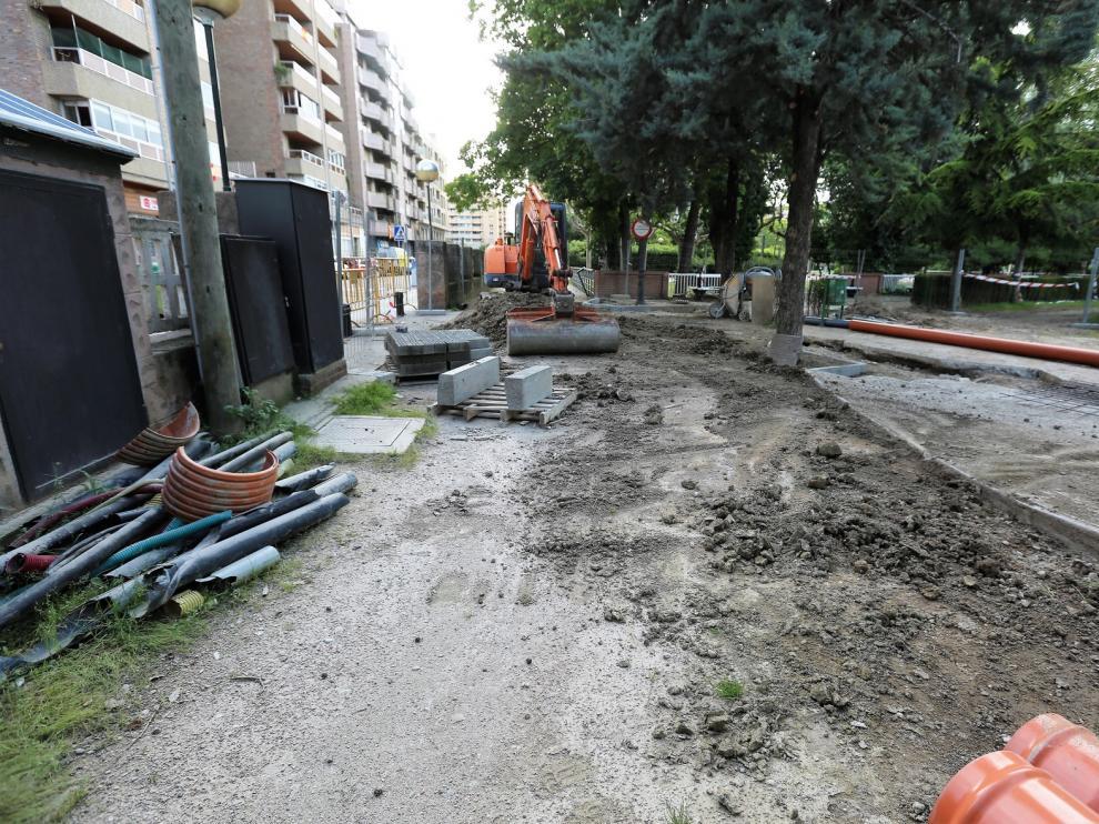Continúan las obras en el Parque Miguel Servet