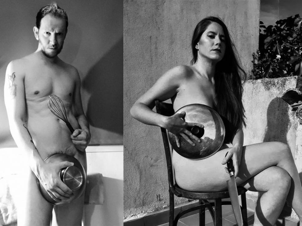 Cocineros altoaragoneses posan desnudos contra el plan de la desescalada