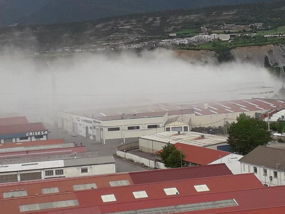 La Guardia Civil investiga el incendio en Orache Desinfection en Sabiñánigo