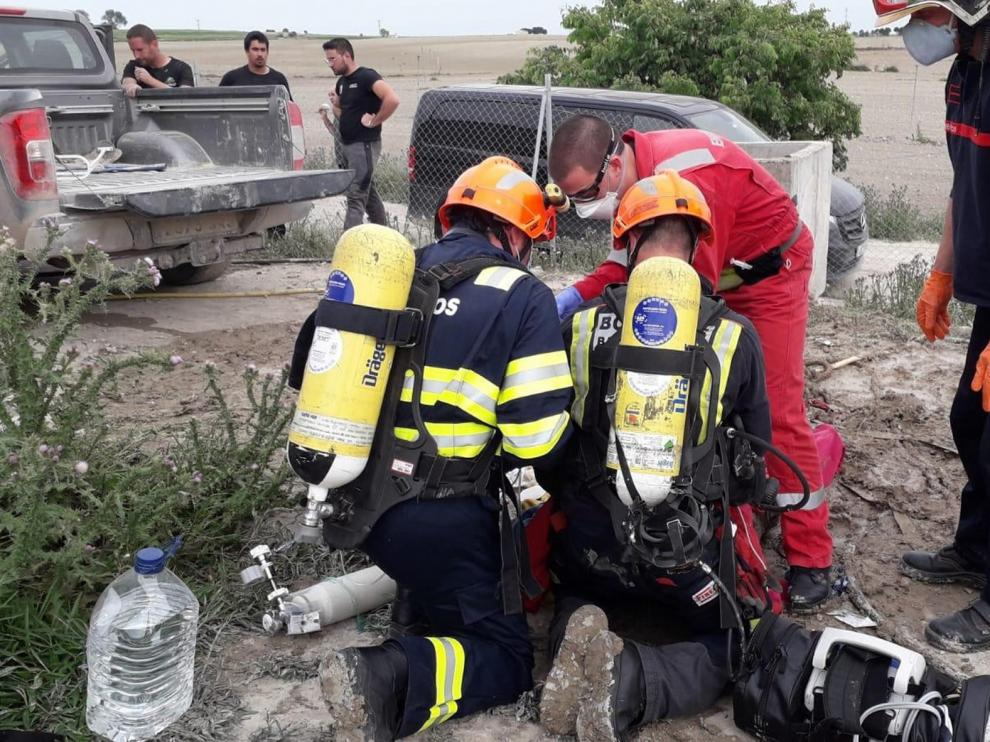 Cuatro personas resultan intoxicadas, dos graves, en un colector de purines en Bujaraloz