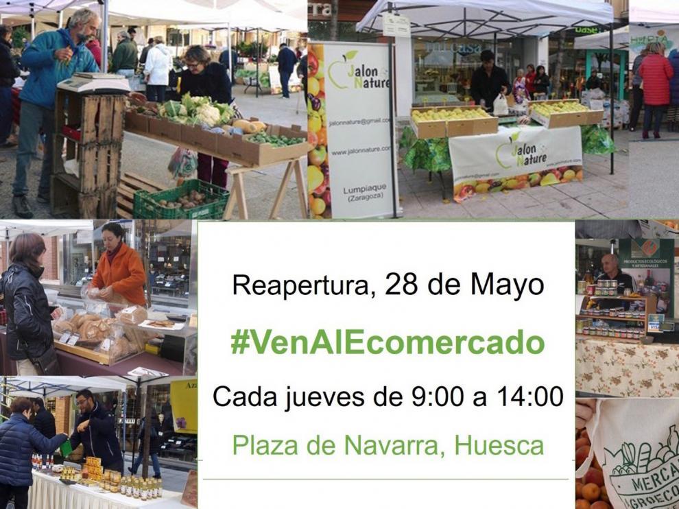 El Mercado Agroecológico de Huesca reabre el próximo jueves, 28 de mayo, en la plaza Navarra