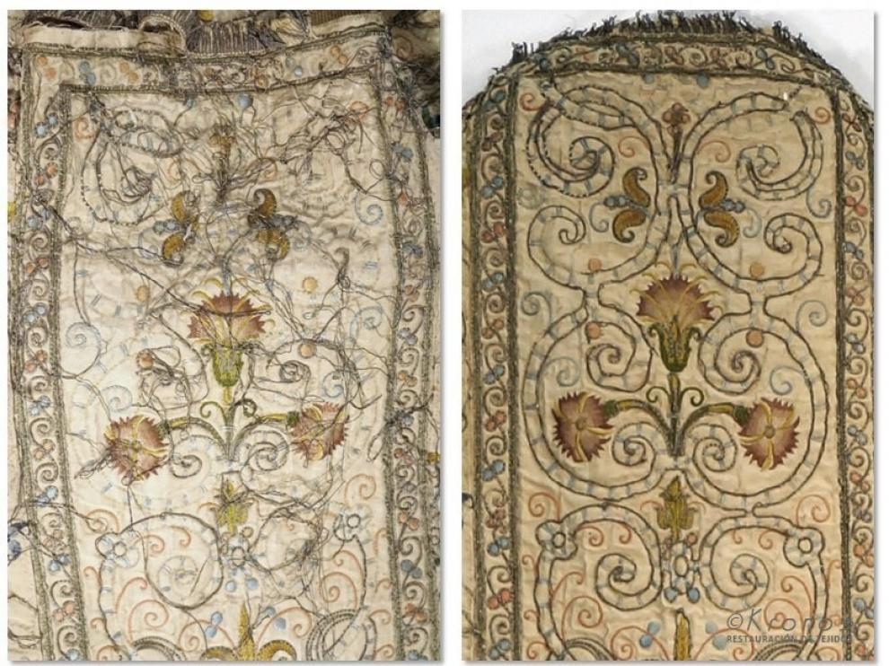 Recuperan el brillo de una casulla del siglo XVII