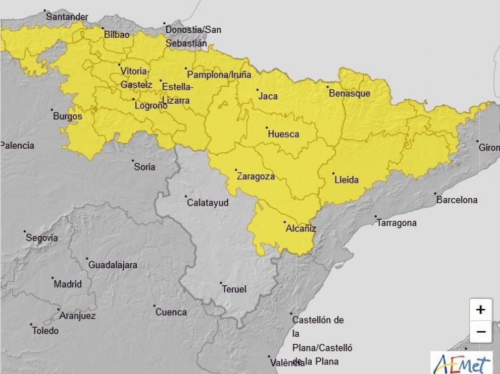 La AEMET amplía el aviso amarillo por lluvias y tormentas en la provincia de Huesca