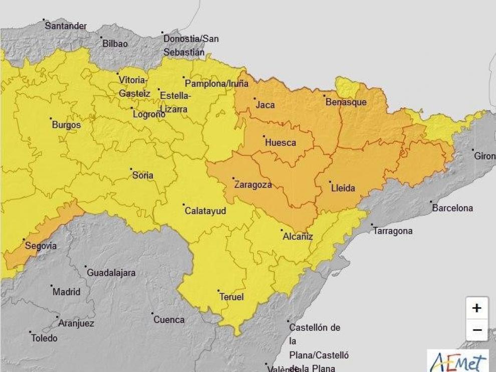 Aviso naranja por lluvias y tormentas en la provincia de Huesca