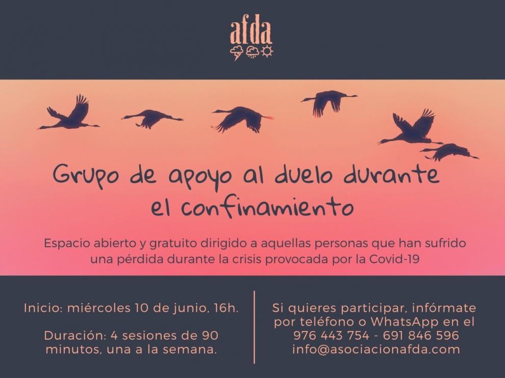 AFDA pone a disposición de los aragoneses grupos de apoyo al duelo
