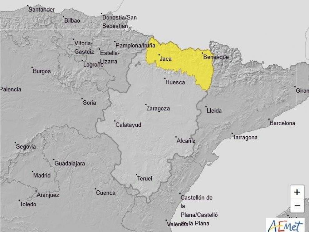 Se activa el aviso amarillo por fuertes lluvias en la provincia de Huesca