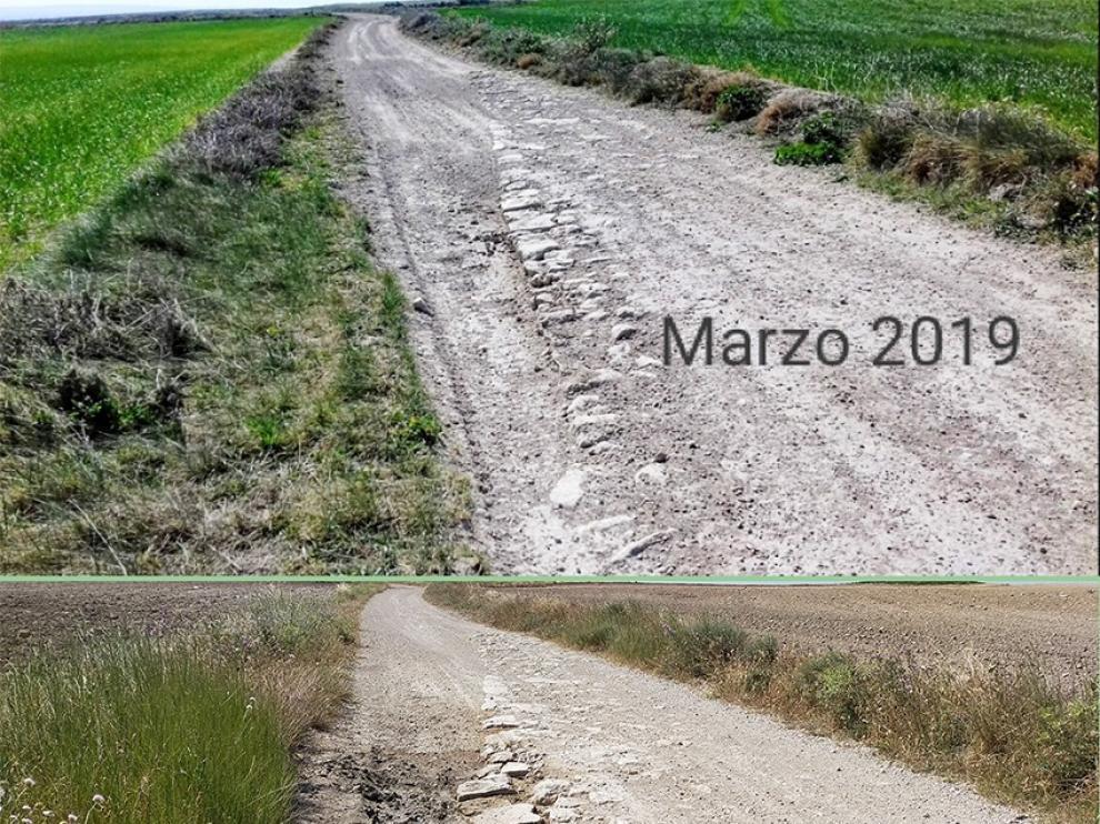 Apudepa denuncia el deterioro de los restos de una calzada romana en Villanueva de Gállego