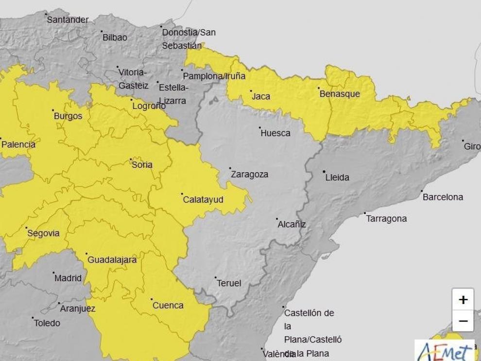 Aemet activa alerta por tormentas y altas temperaturas en varias zonas de Aragón este jueves
