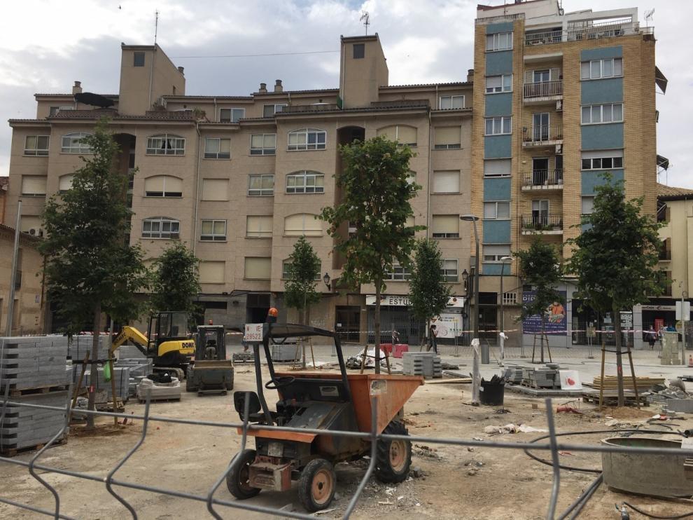 Reponen el arbolado en la plaza de Santo Domingo de Huesca