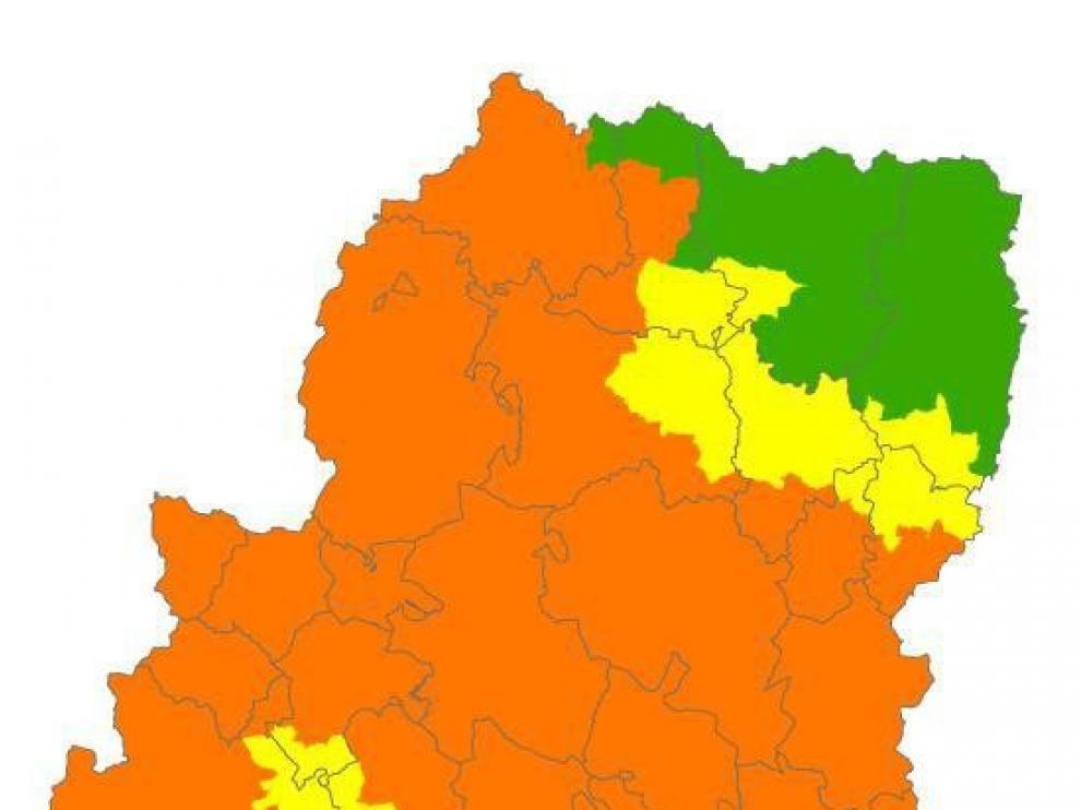 Activada la alerta naranja de peligro de incendios forestales en buena parte de Aragón