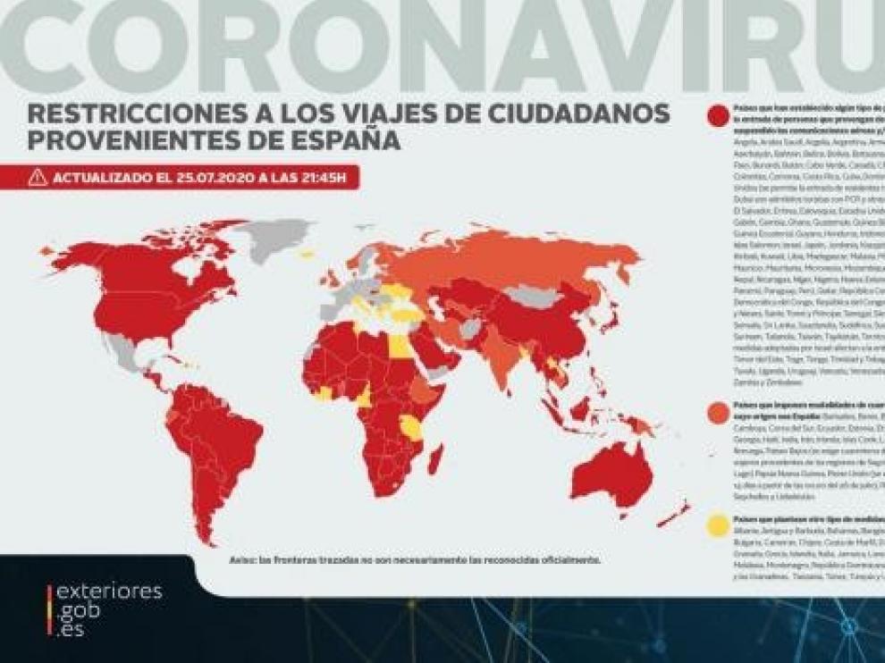 Exteriores actualiza su mapa de restricciones de viaje por la pandemia de coronavirus