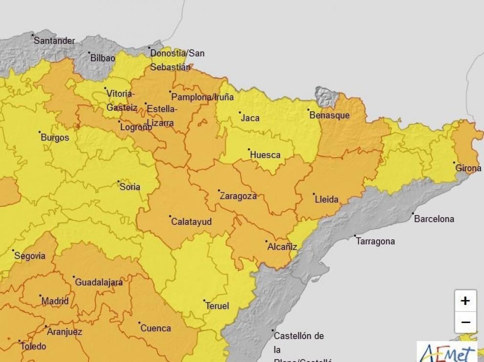Se amplía la alerta naranja por altas temperaturas al sur de Huesca