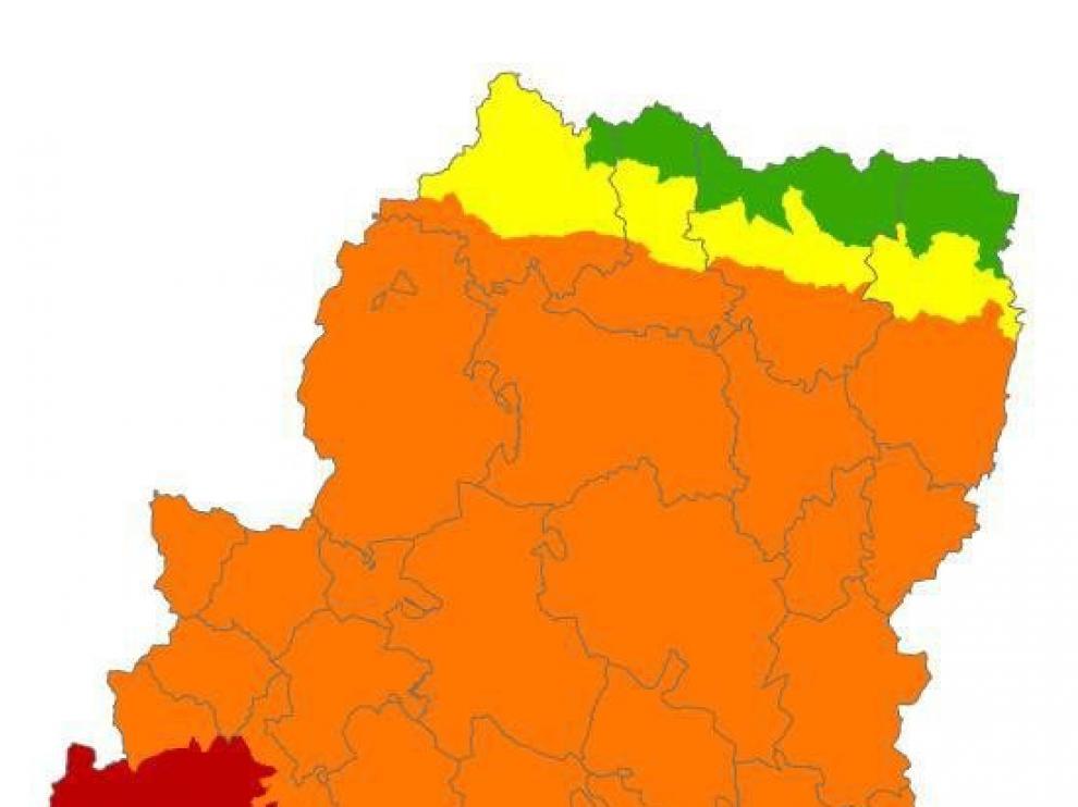 Alerta roja de peligro de incendios forestales en el sur de Aragón