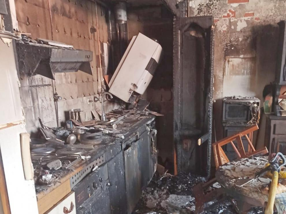 Incendio en un piso de la calle San José de Calasanz de Jaca