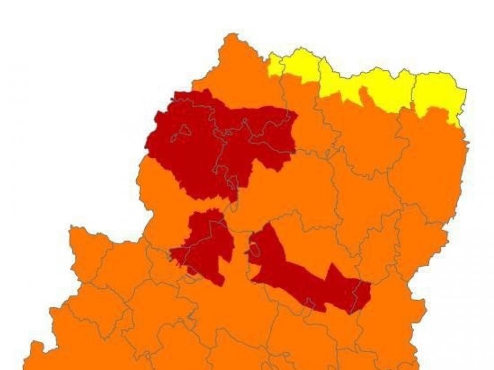 Alerta roja de peligro de incendios forestales en Muelas de Alcubierre y Zuera, Prepirineo Occidental y Somontano Occidental