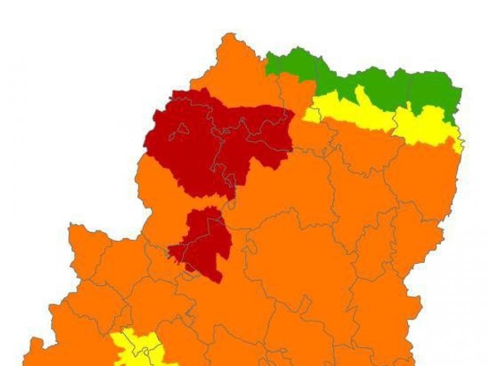 Alerta roja de peligro de incendios forestales en el Prepirineo Occidental, el Somontano Occidental y Zuera