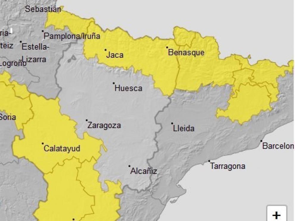 Se amplía el aviso amarillo por tormentas al Pirineo y sur de Aragón, este domingo
