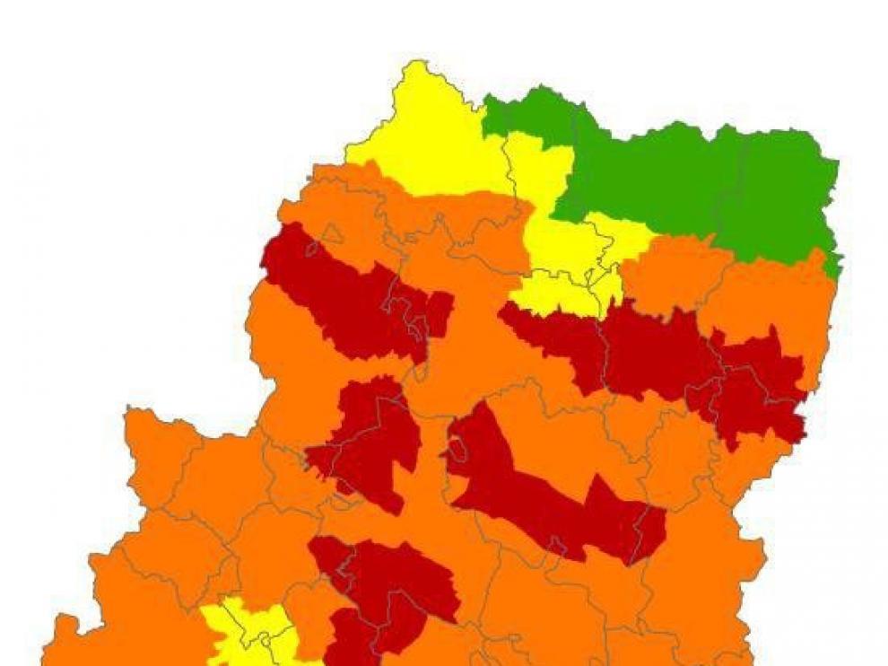 Alerta roja por peligro de incendios forestales en varios puntos de Aragón