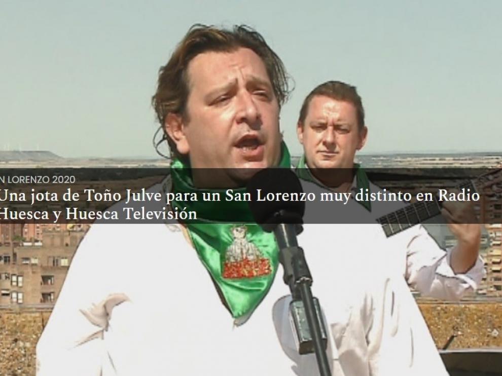 Toño Julve saluda a las no fiestas en una jota para Radio Huesca y Huesca Televisión