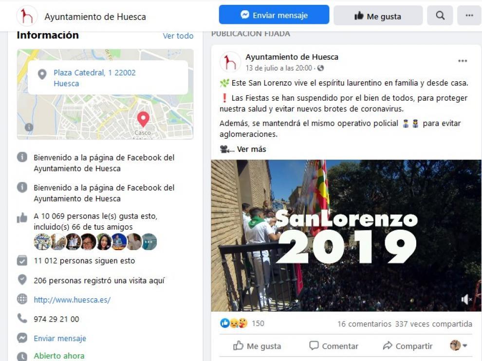 Gran alcance de la campaña en redes sociales del Ayuntamiento de Huesca llamando a la responsabilidad