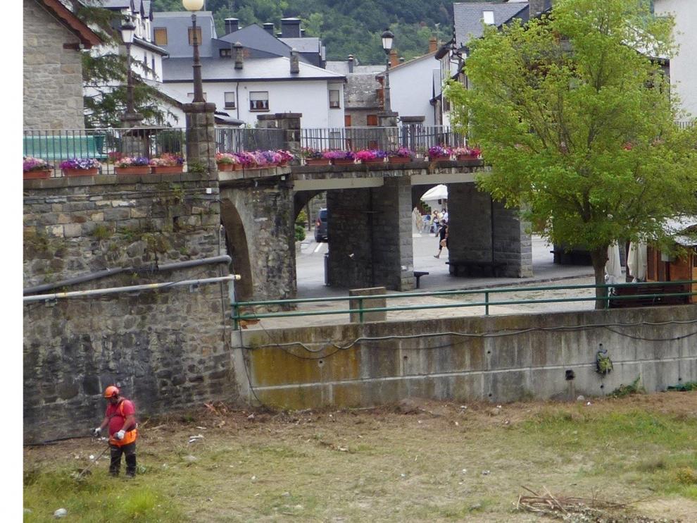 Desbrozan la margen izquierda del río Gállego a su paso por Biescas